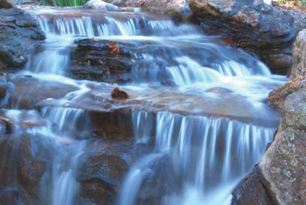 medium sized yard waterfall design