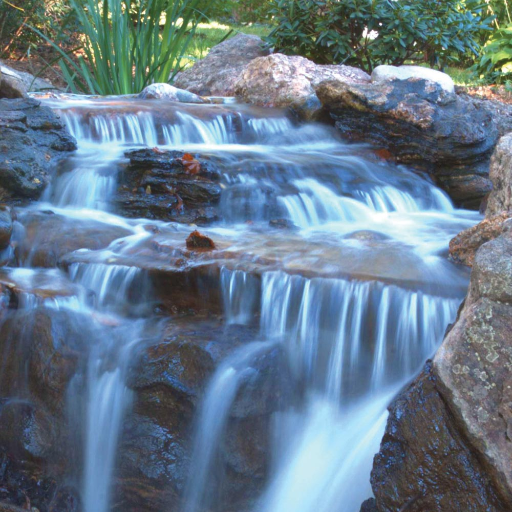 medium sized yard waterfall design